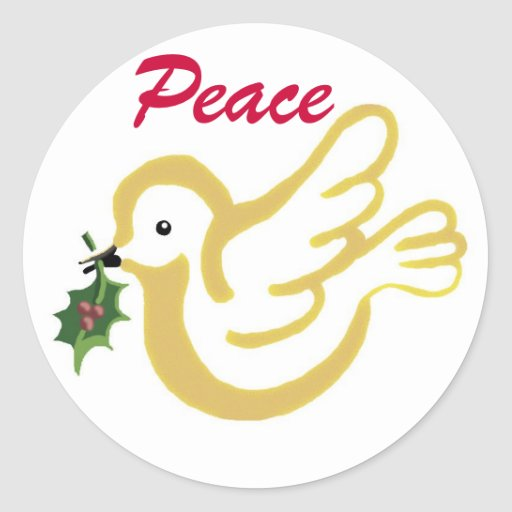 Peace dove with a Christmas wish Round Sticker