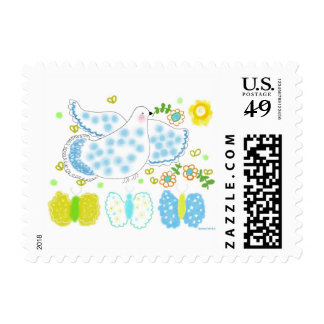 Peace Dove with butterflies and flowers Stamps
