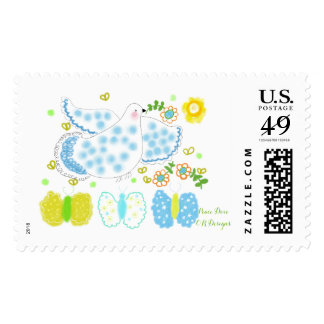 Peace Dove with flowers Stamp by ORDesigns