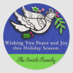 Peace Dove with Holly Cards, Postcards, Stickers