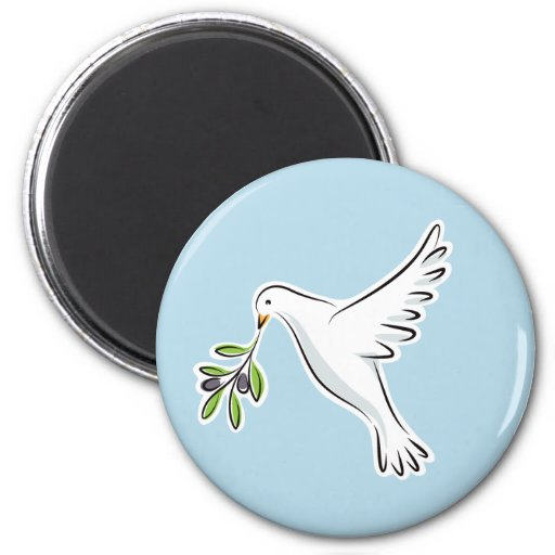 Peace dove with olive branch 2 inch round magnet