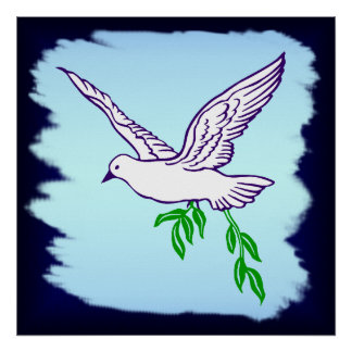 Peace Dove with Olive Branch Art Poster