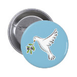 Peace dove with olive branch button