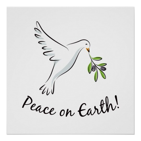 Peace dove with olive branch poster