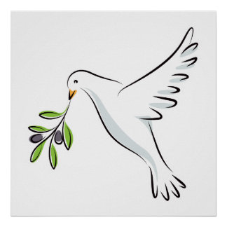 Peace dove with olive branch posters