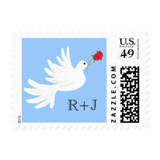 Peace Dove with Rose Wedding Monogram USPS Stamp