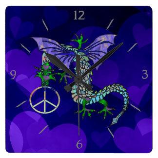 Peace Dragon Square Wall Clock