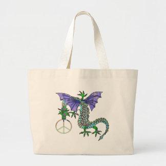 Peace Dragon Tote Bags
