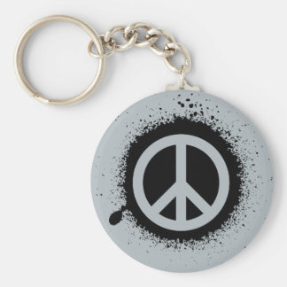 Peace drip basic round button keychain