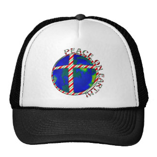 PEACE  EARTH  CHRIST JESUS CANDY CANE CHRISTMAS TRUCKER HAT