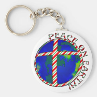 PEACE  EARTH  CHRIST JESUS CANDY CANE CHRISTMAS KEYCHAINS