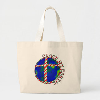 PEACE  EARTH  CHRIST JESUS CANDY CANE CHRISTMAS LARGE TOTE BAG