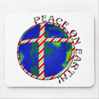 PEACE  EARTH  CHRIST JESUS CANDY CANE CHRISTMAS MOUSE PADS