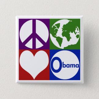 Peace, Earth, Love, Obama (Campaign Button) Button