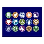 Peace & Eco Symbols Postcard