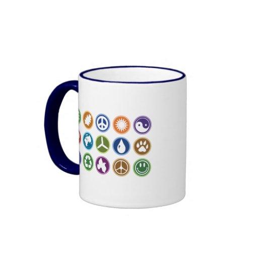 Peace & Eco Symbols Ringer Coffee Mug