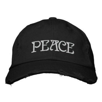 PEACE EMBROIDERED BASEBALL CAP