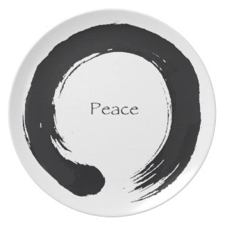 """""""Peace"""" Enso / Sumi Circle Dinner Plate"""