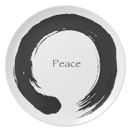 """Peace"" Enso / Sumi Circle Dinner Plate"