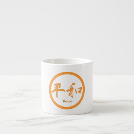 Peace espresso coffee mugs with orange peace kanji
