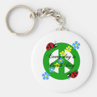 Peace every day is earth day keychain