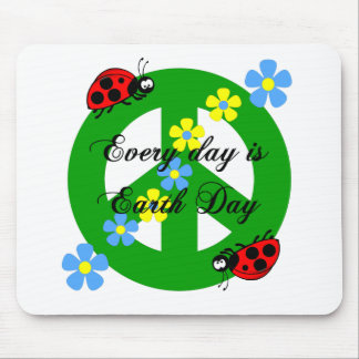 Peace every day is earth day mouse mat