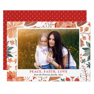 Peace Faith Love Seasonal Greeting Family Photo Card