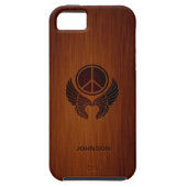 Peace Feather Wing with Custom Name & Brushed Wood iPhone 5 Cover