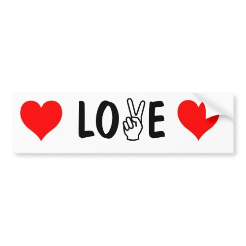 peace-fingers LOVE bumper sticker bumpersticker
