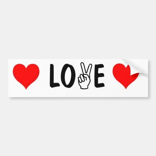 peace-fingers LOVE bumper sticker