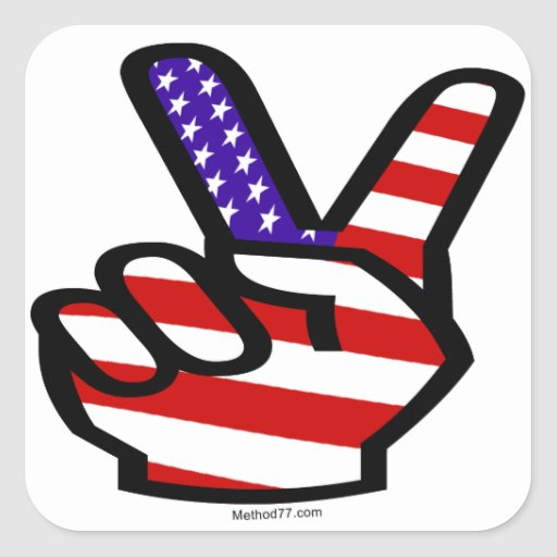 Peace Fingers USA Stickers