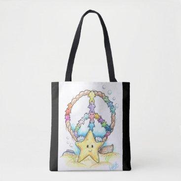 Beach Themed Peace Fish Custom Art Tote Bag
