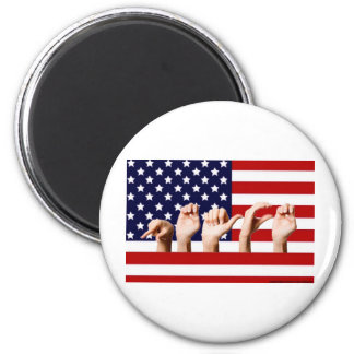Peace Flag spelled out in ASL 2 Inch Round Magnet