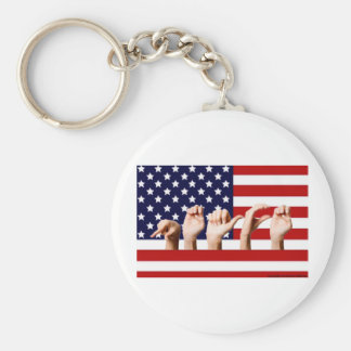 Peace Flag spelled out in ASL Basic Round Button Keychain