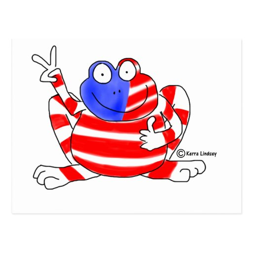 Peace Flag USA Frog 4th of July Patriotic Cute Postcard
