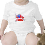 Peace Flag USA Frog 4th of July Patriotic Cute Bodysuits
