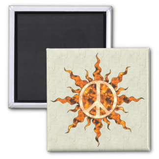 Peace Flame Spiral 2 Inch Square Magnet