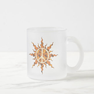 Peace Flame Spiral Frosted Glass Coffee Mug