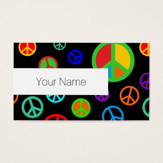 PEACE - Flat pattern multicolored + your backgr. Business Card