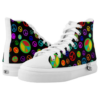 PEACE - Flat pattern multicolored + your backgr. High-Top Sneakers
