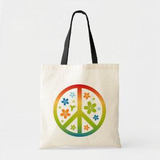 Peace Floral Design Canvas Bag
