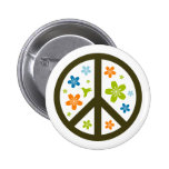 Peace Floral Design Button