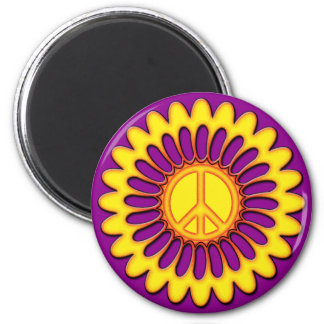 PEACE FLOWER 2 INCH ROUND MAGNET