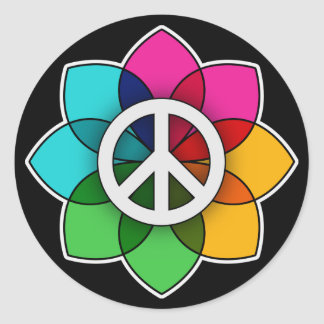 Peace Flower Classic Round Sticker