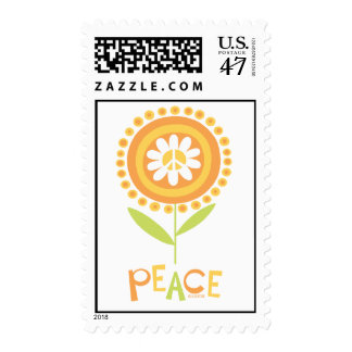 Peace flower copy postage stamp
