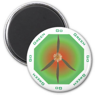 Peace Flower - Go Green 2 Inch Round Magnet