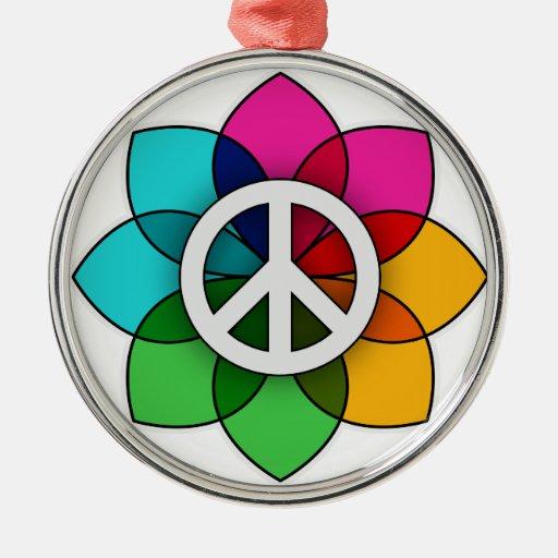 Peace Flower Christmas Tree Ornaments