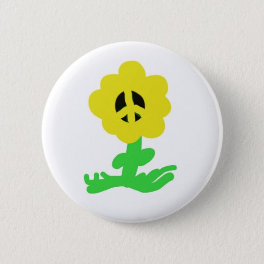 Peace Flower Pinback Button