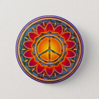 PEACE FLOWER PINBACK BUTTON
