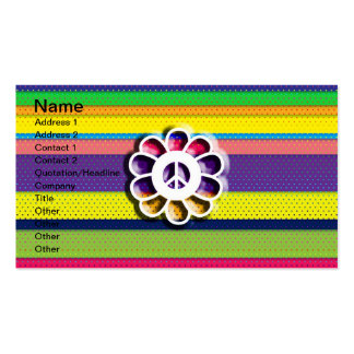 Peace Flower Power Colorful Stripes Business Card